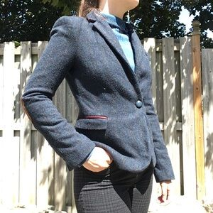 Zara Lambswool Blazer with Hand Embroidered Rose